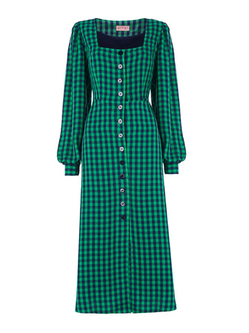 Clara Green Check Midi Dress