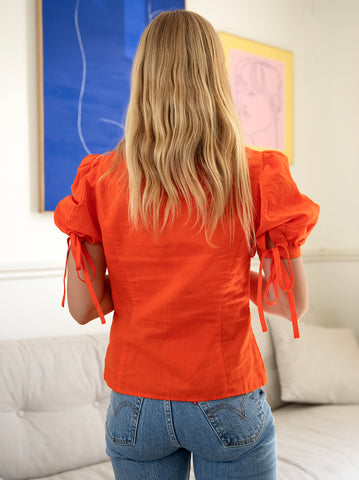 Rose Coral Linen Top
