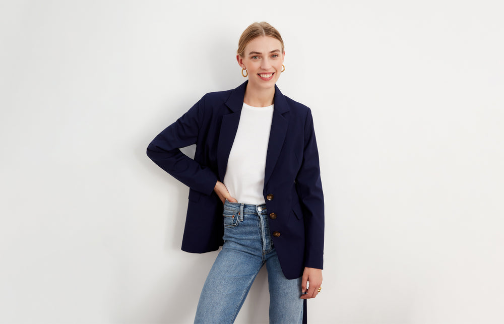 Courtney Navy Belted Blazer