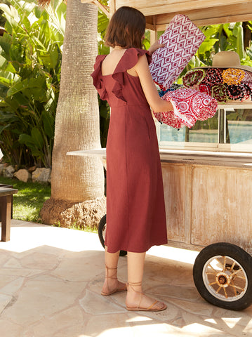 Dahlia Brick Linen Dress by KITRI Studio