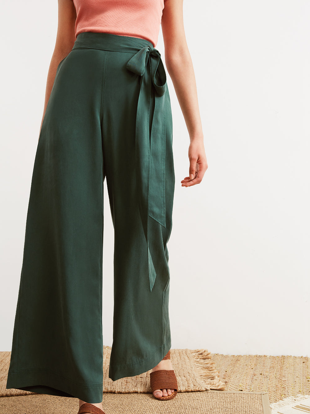 Daphne Green Wide Leg Tie Waist Trousers by KITRI Studio