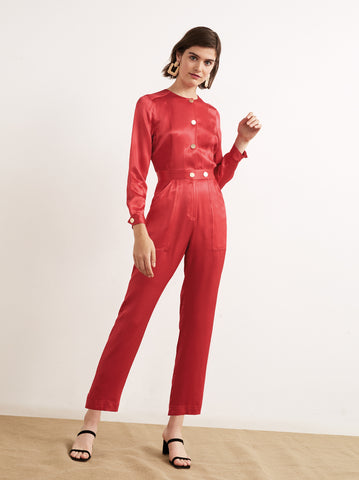 Delaney Red Satin Jumpsuit by KITRI Studio