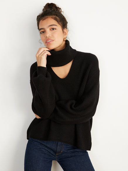 Donna Black Rib Knit Jumper by KITRI Studio
