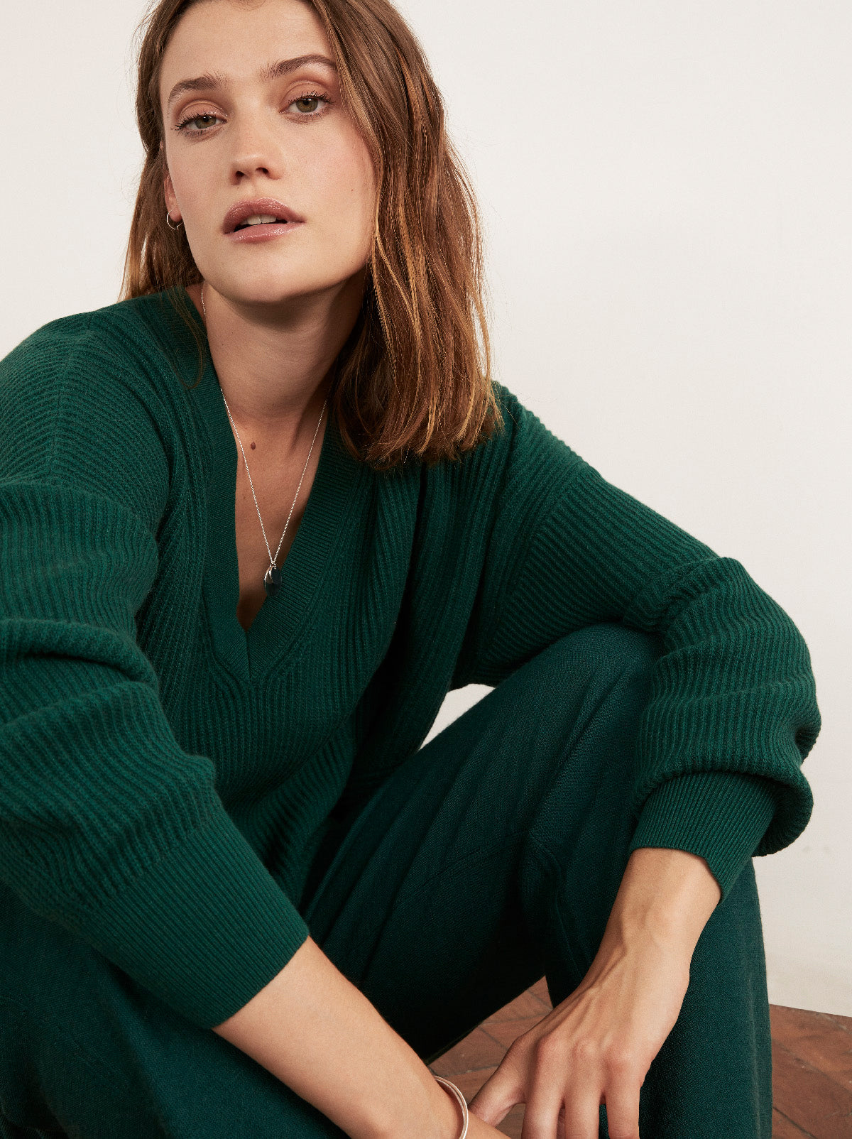 Dree Dark Green V-Neck Jumper by KITRI Studio