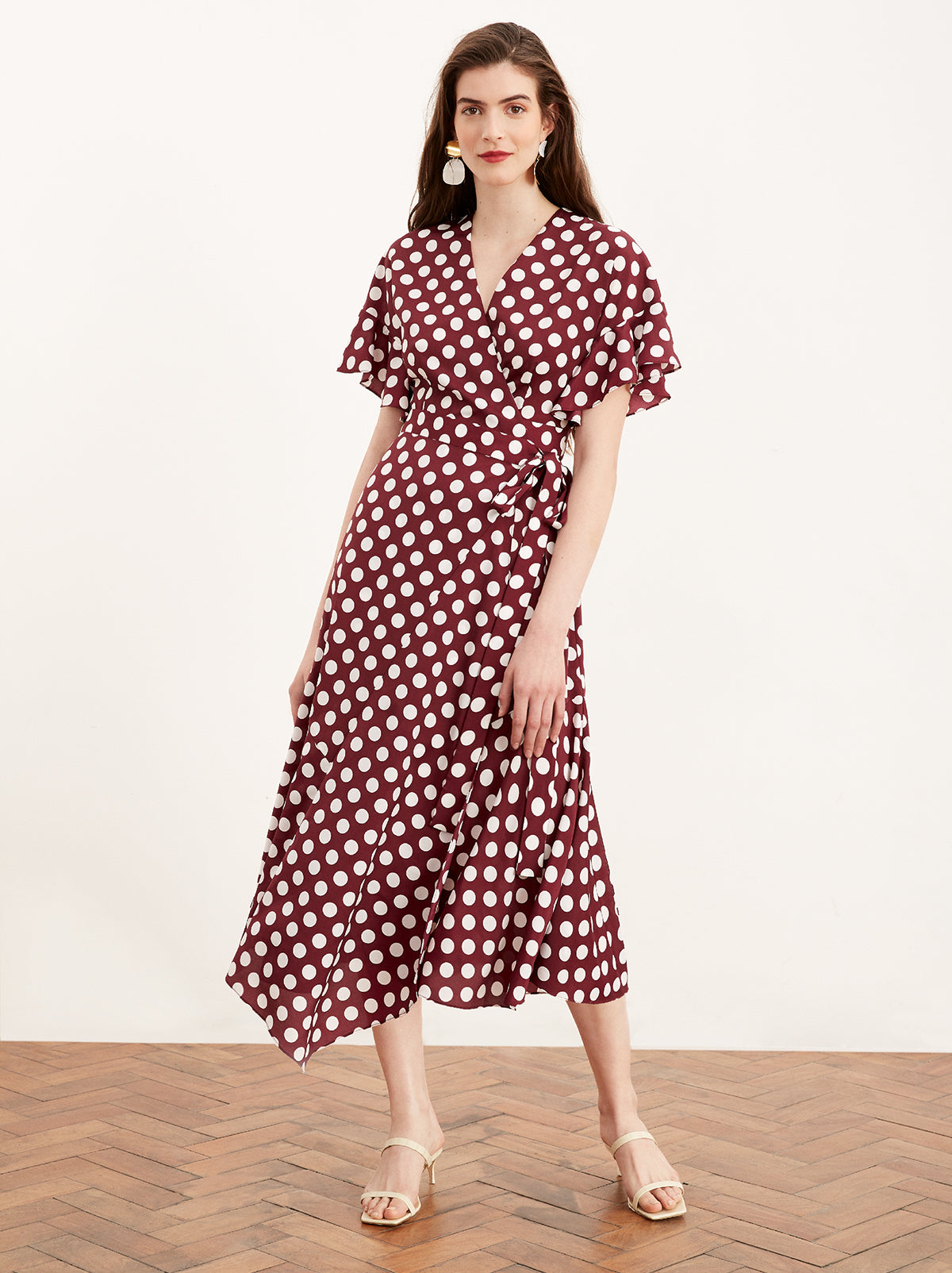 Eliana Aubergine Polka Dot Wrap Dress by KITRI Studio