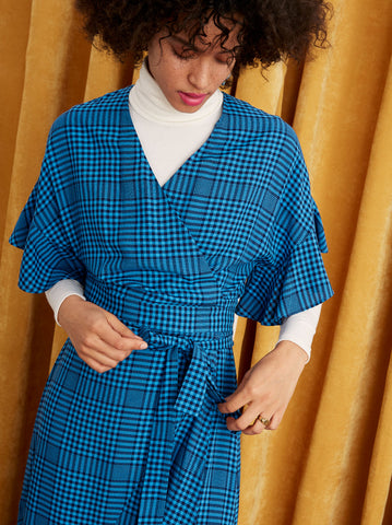 Eliana Blue Check Wrap Dress by KITRI Studio