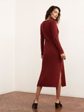 Elisa Red Merino V-neck Wool Rib Knit Dress by KITRI Studio