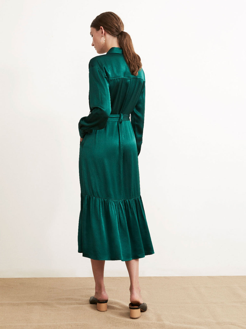 Eloise Green Satin Belted Shirt Dress by KITRI Studio