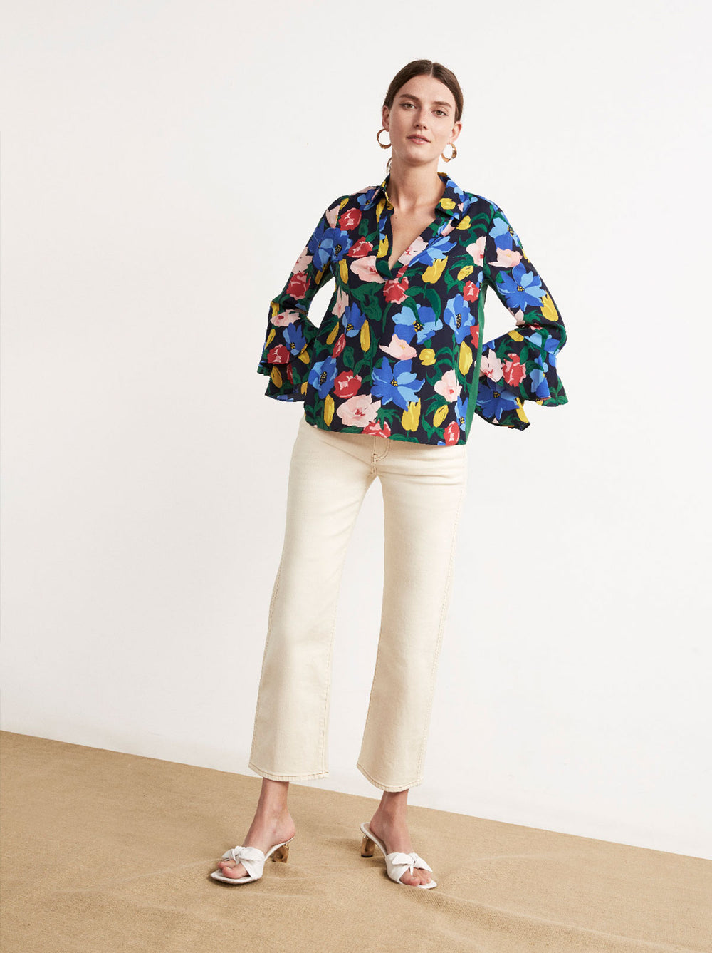 Emeline Floral Print Frill Sleeve Blouse by KITRI Studio