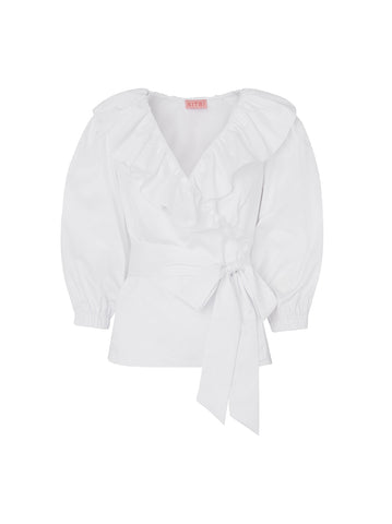Erin White Cotton Frill Wrap Shirt by KITRI Studio