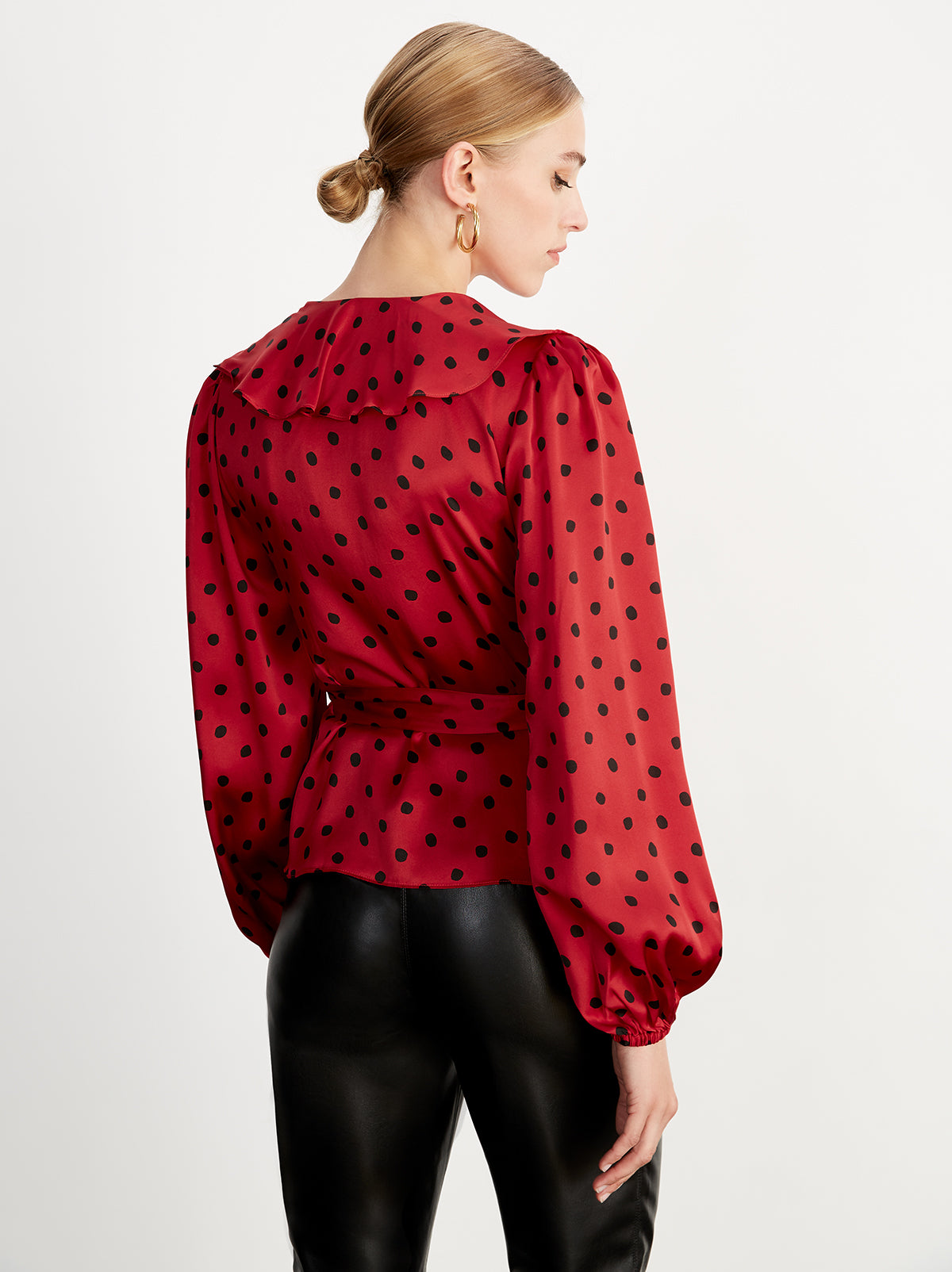 Esmeralda Red Polka Dot Wrap Blouse