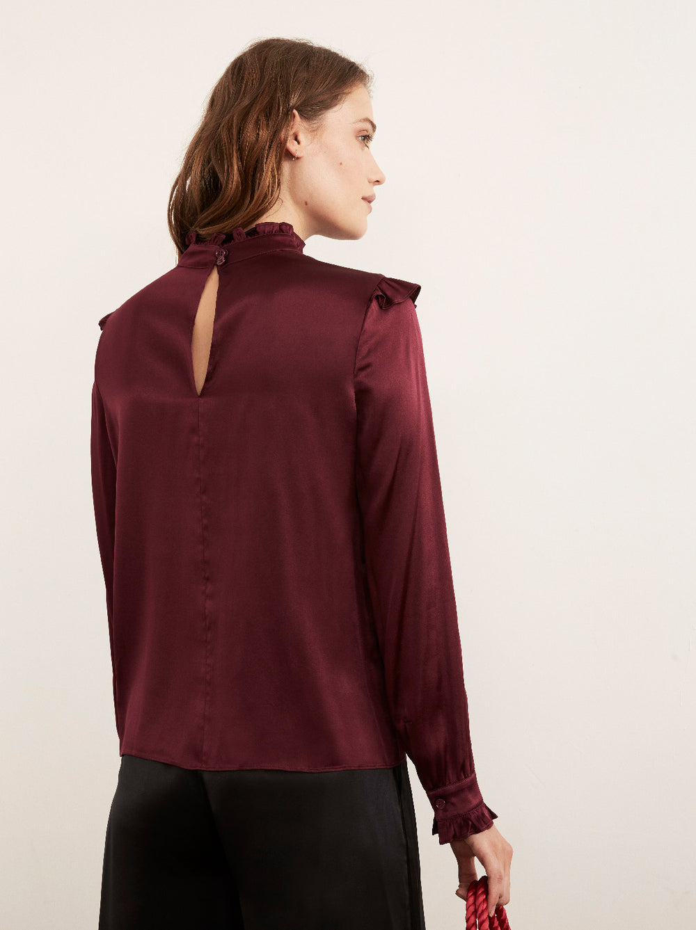 Evie Burgundy Silk Blend Vintage Frill Blouse by KITRI Studio