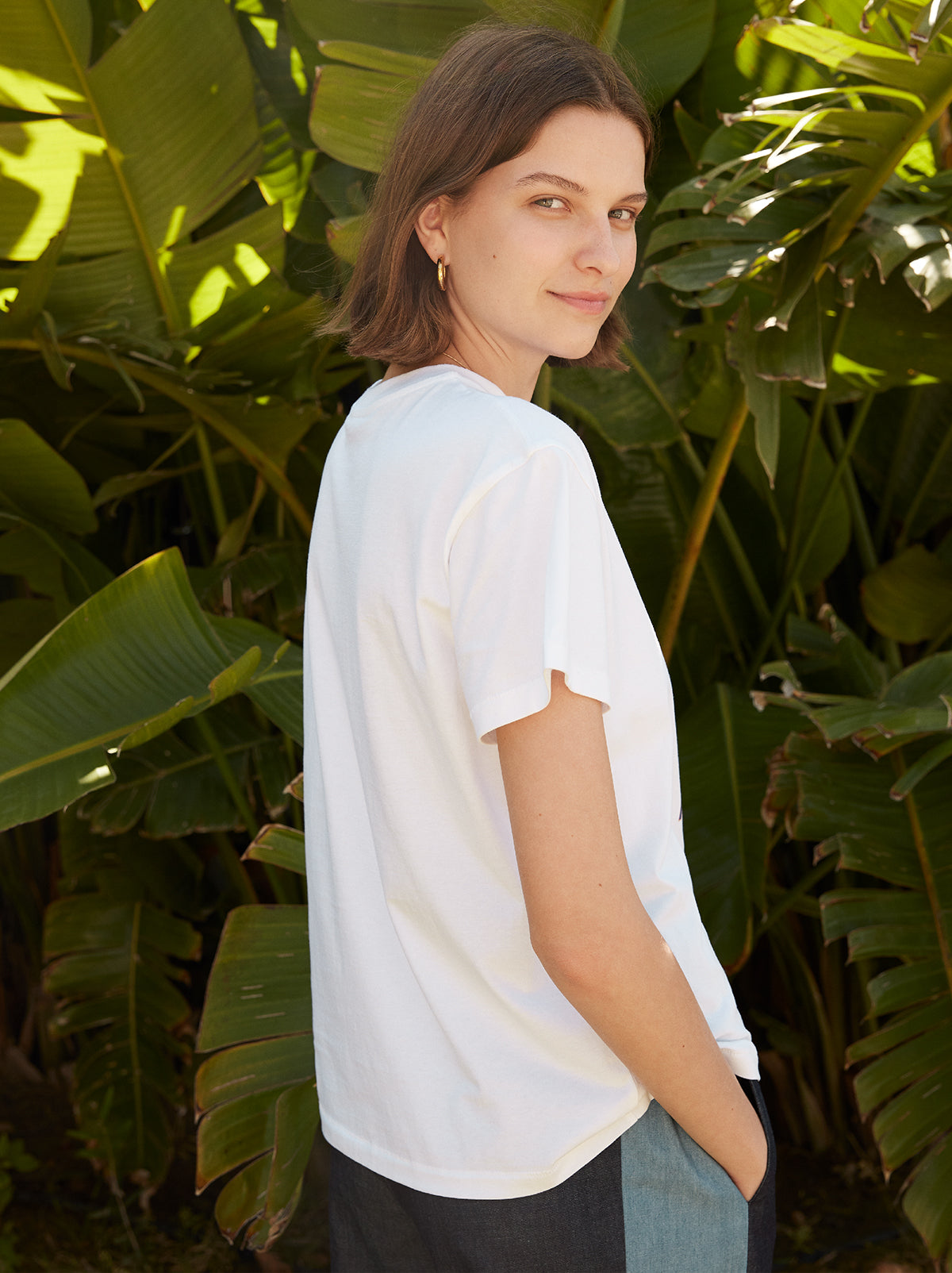 Fiesta White Cotton Print T-shirt by KITRI Studio