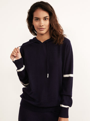 Frances Navy Merino Hooded Jumper by KITRI Studio