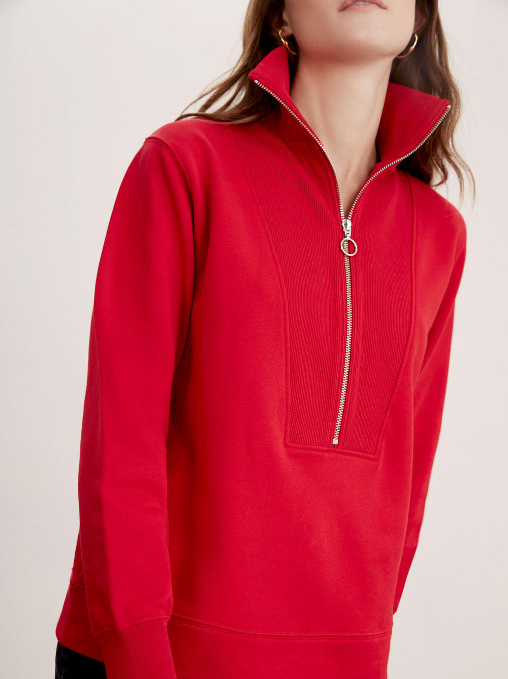 Francine Red Cotton Zip Sweatshirt by KITRI Studio