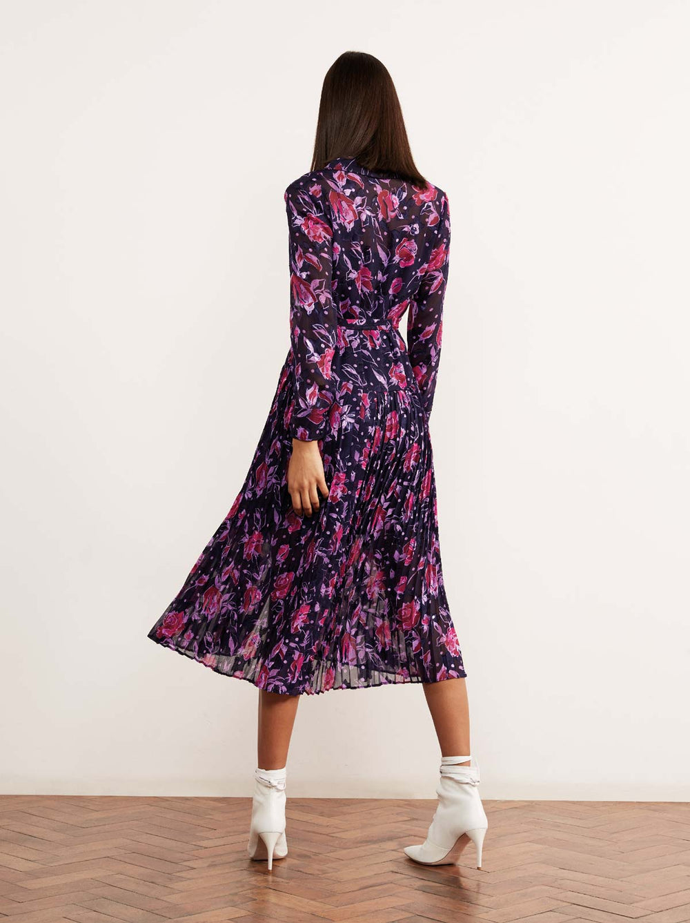 Gabriella Purple Floral Print Pleated Shirt Dress by KITRI Studio