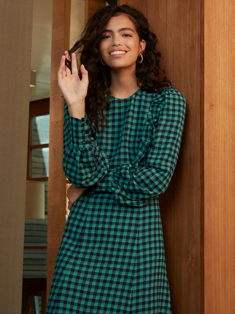 Gina Green Check Vintage Frill Dress by KITRI Studio