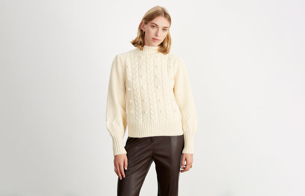Giulia Cream Cable Knit Jumper by KITRI Studio