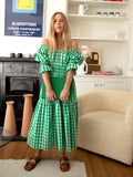 Margot Green Check Midi Dress