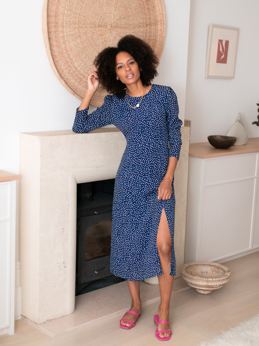 Greta Navy Polka Dot Dress