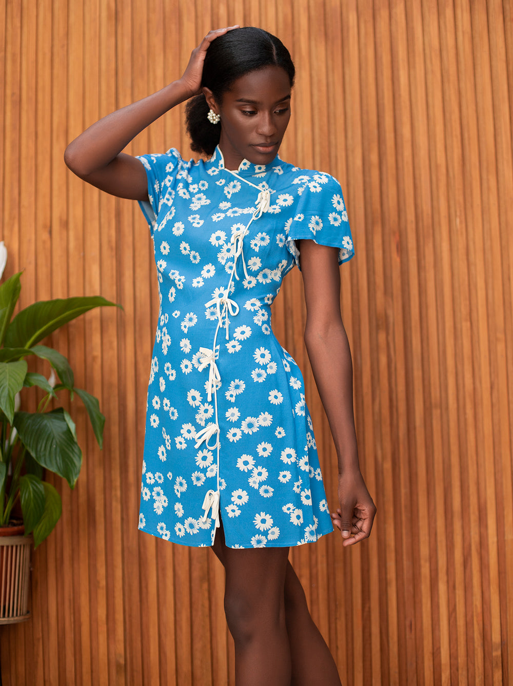Harlow Blue Daisy Print Mini Dress