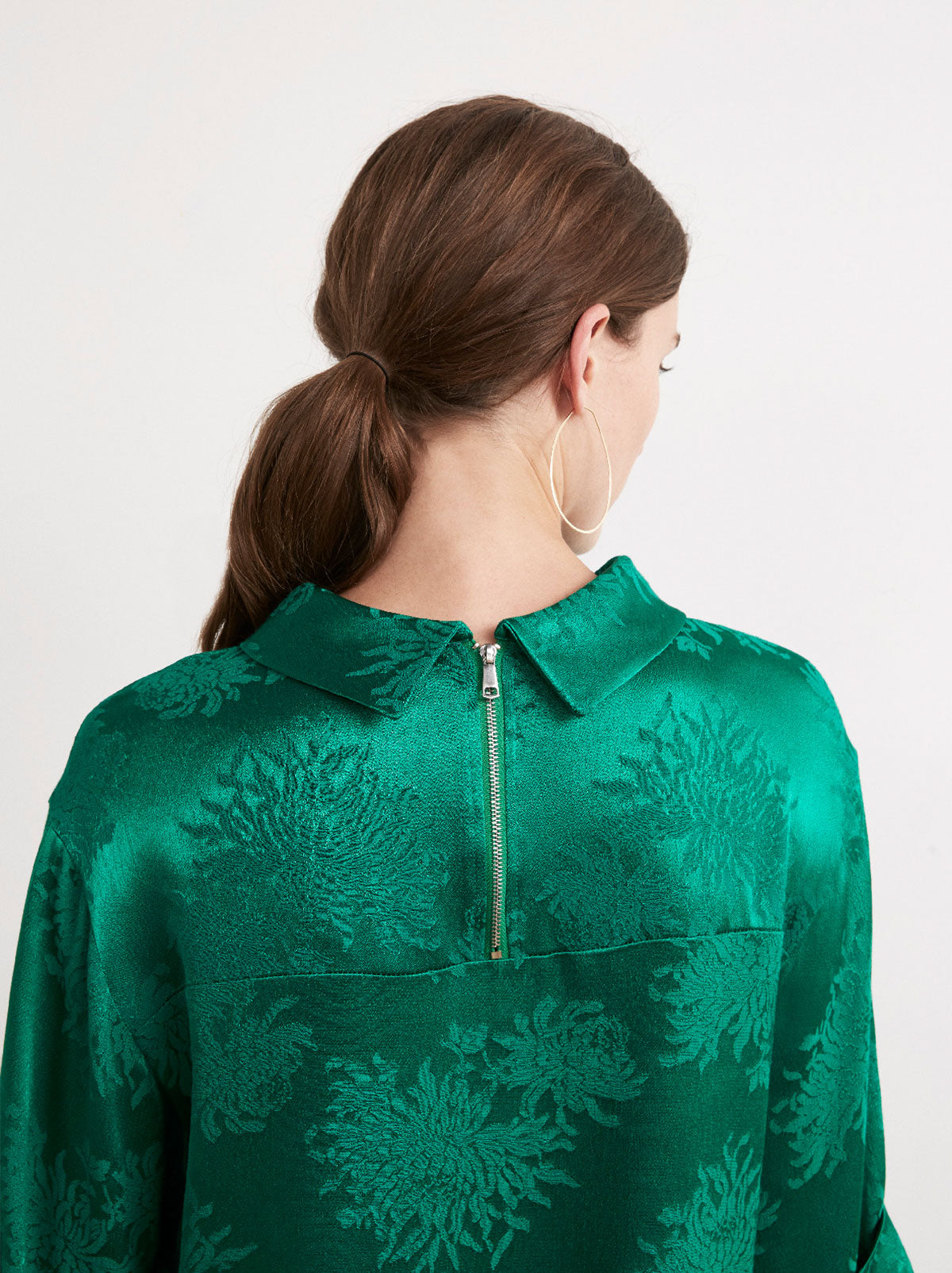 Heidi Green Rolled Collar Top by KITRI Studio