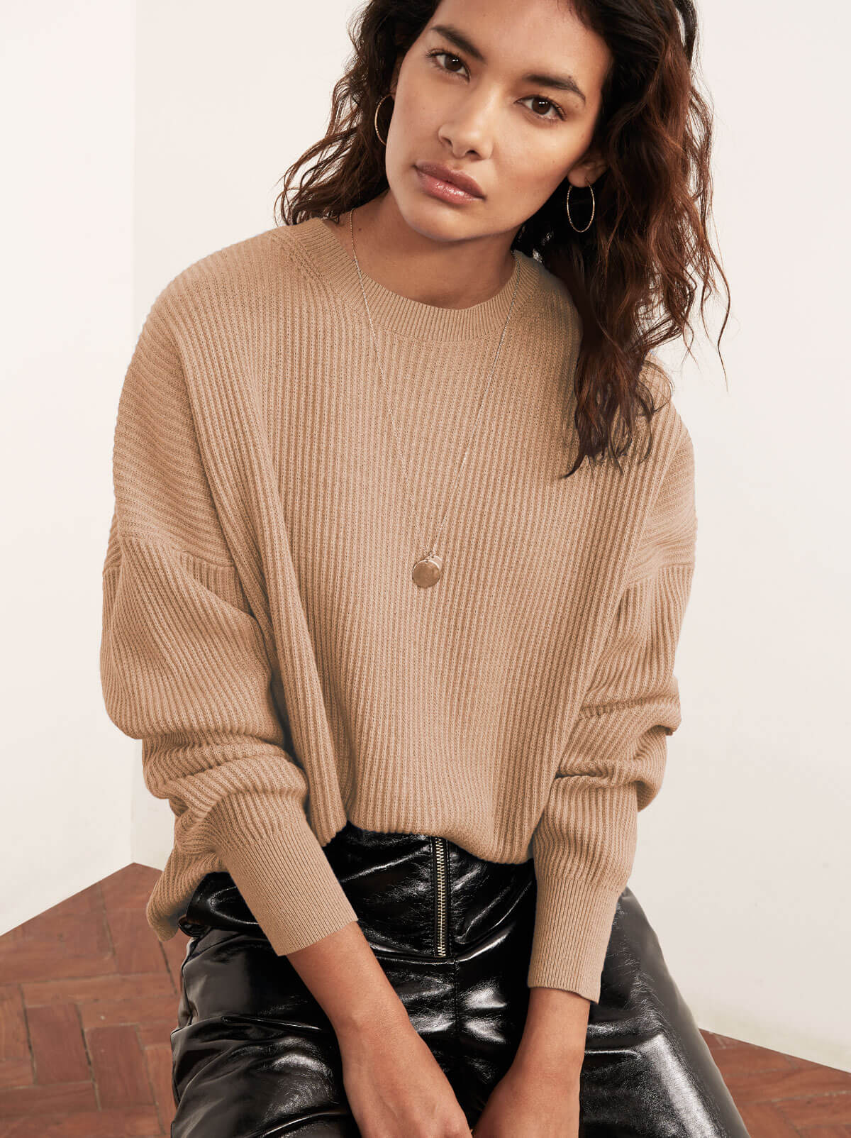 Hettie Camel Crew Neck Jumper by KITRI Studio