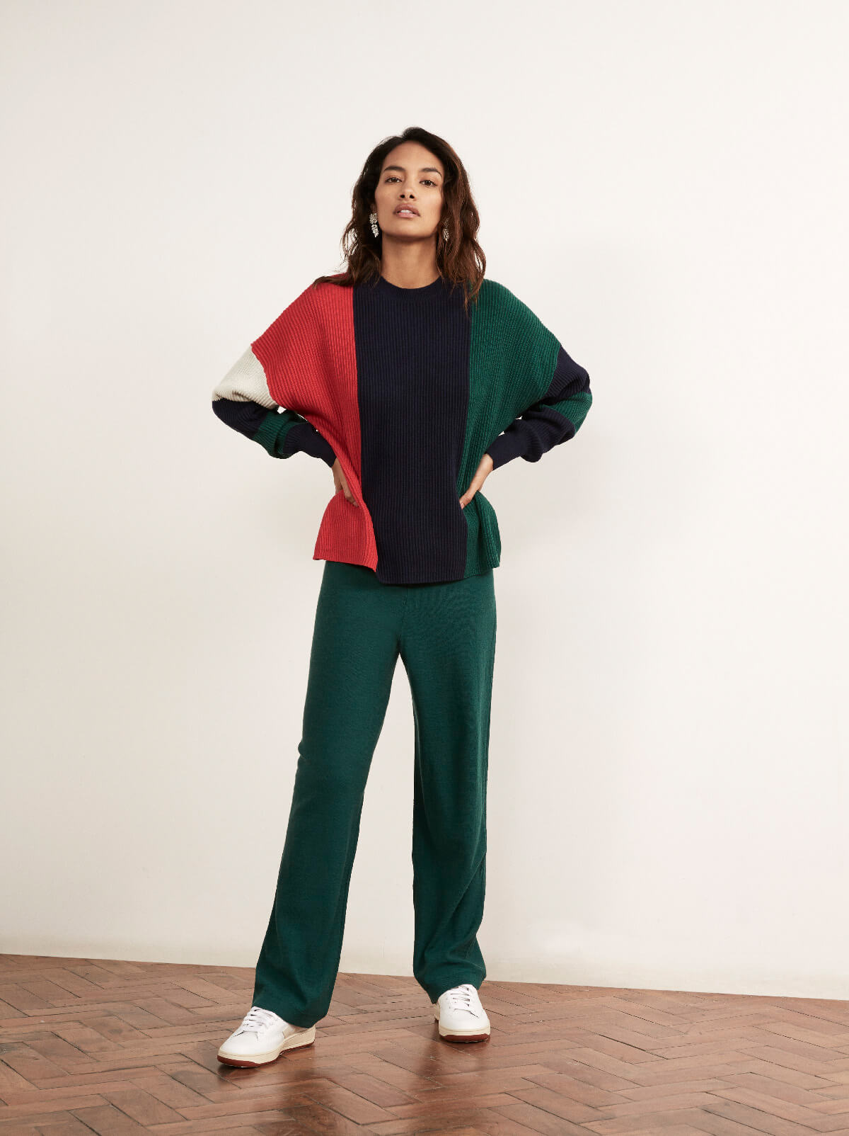 Hettie Multicoloured Cotton Cashmere Crew Neck Jumper by KITRI Studio