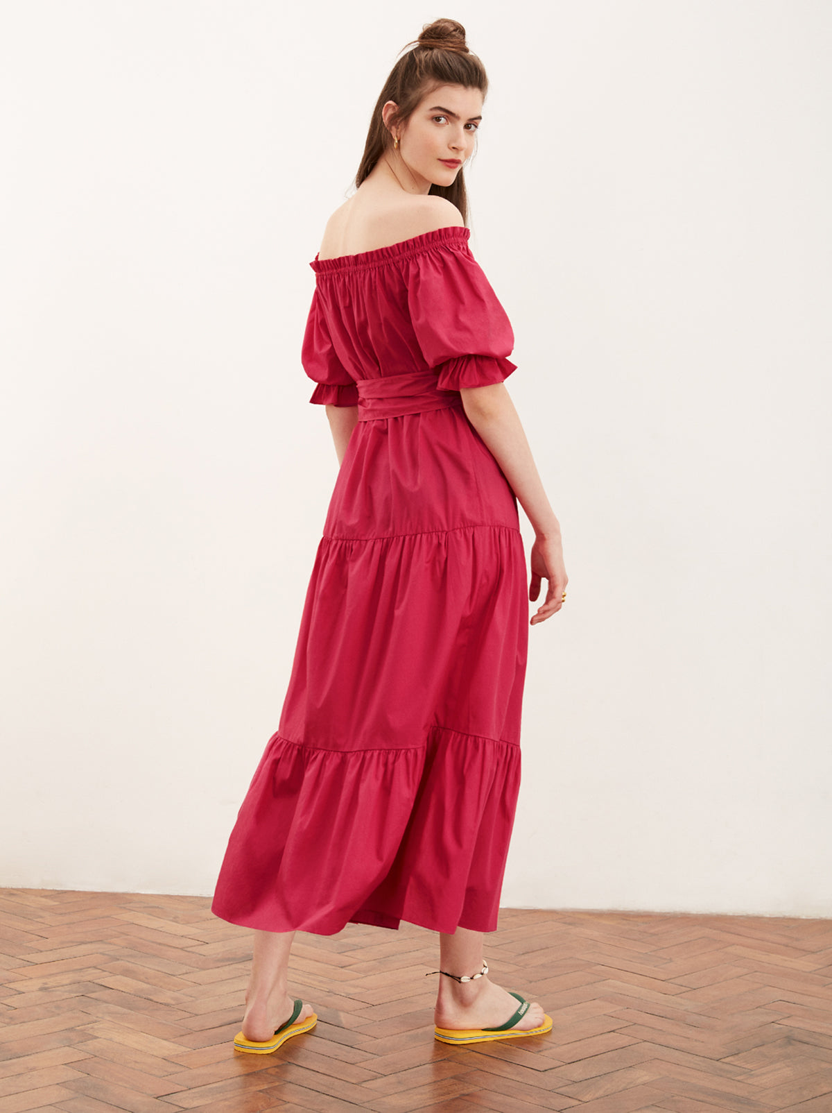 Ione Pink Cotton Bardot Dress by KITRI Studio