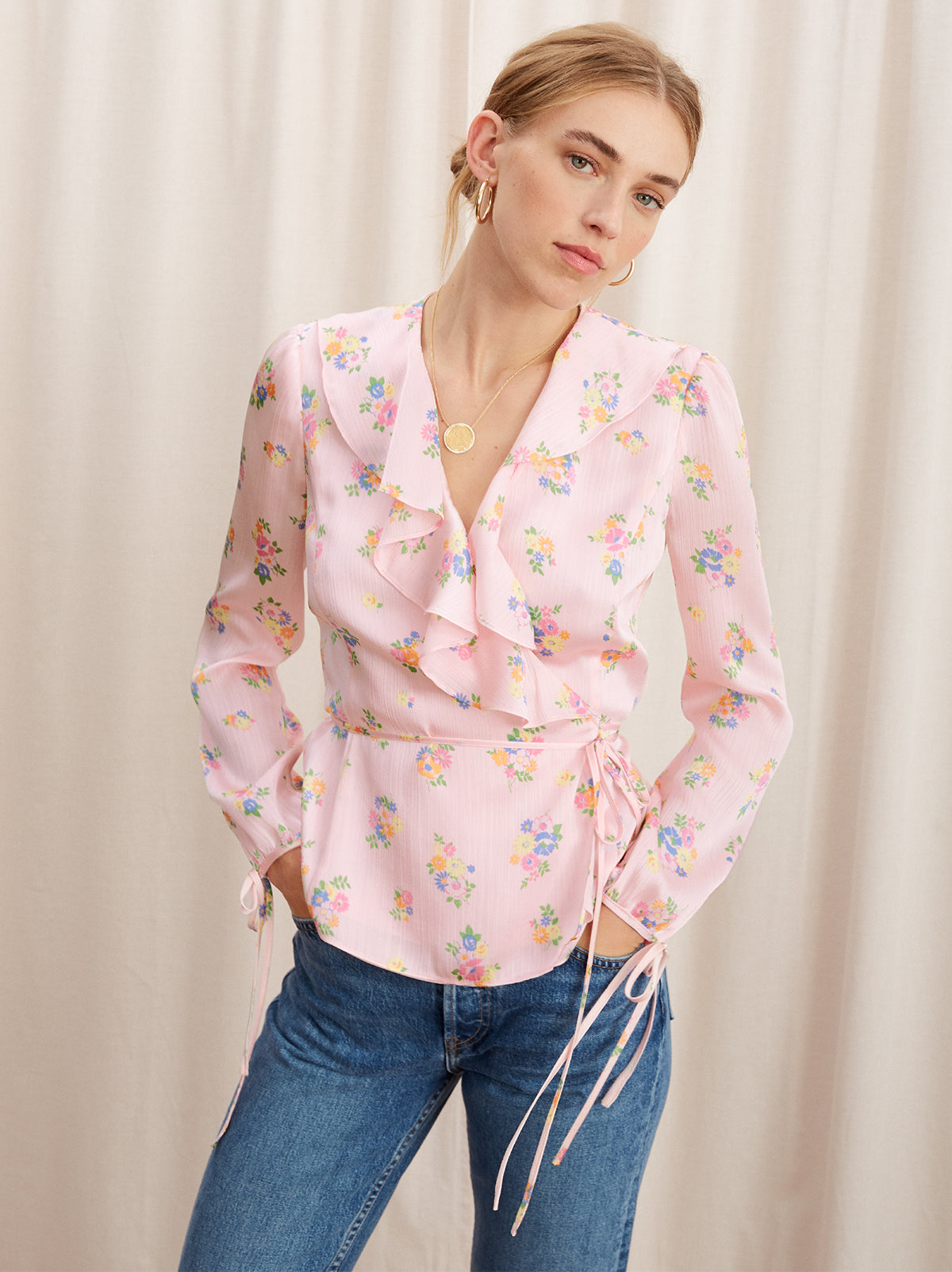 Jamie Pink Floral Print Frill Wrap Top by KITRI Studio
