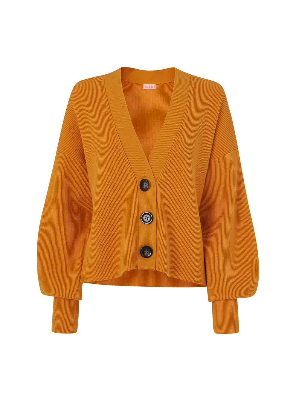 Jolie Orange Ribbed Knit Cardigan by KITRI Studio