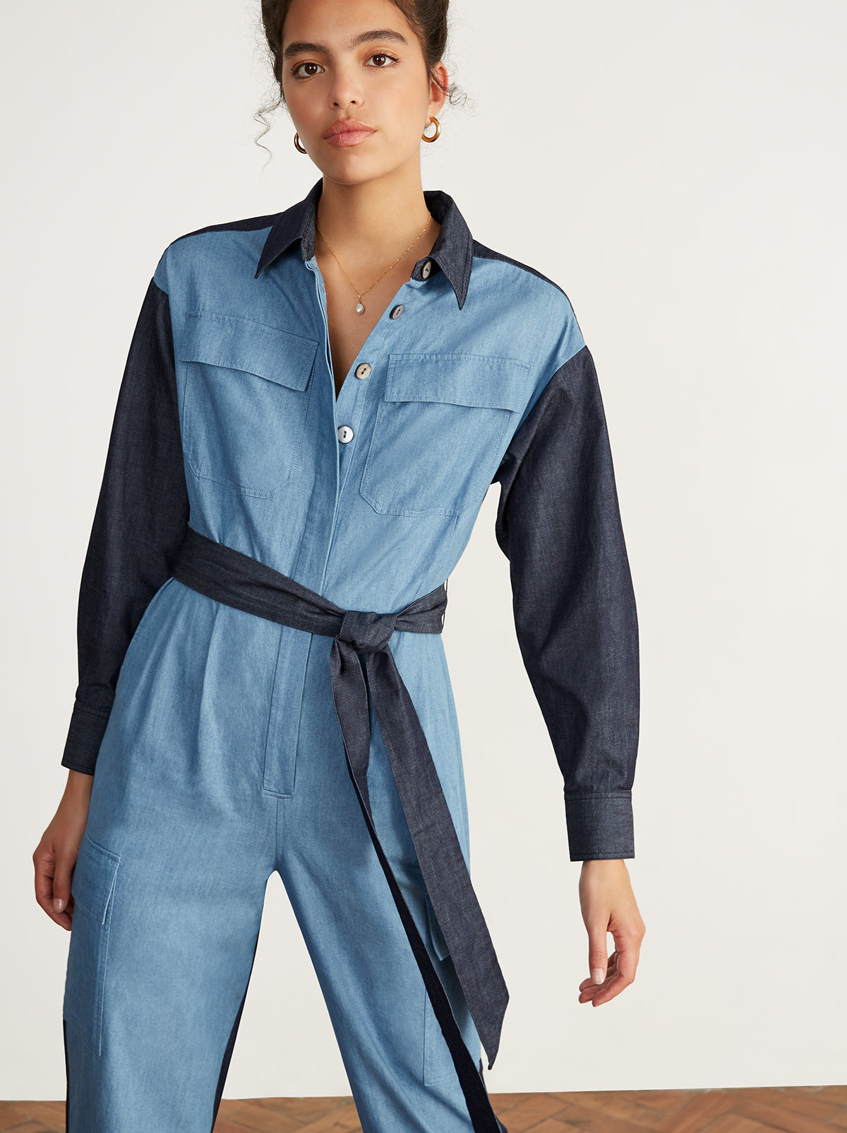 Jule Chambray Oversized Boiler Suit by KITRI Studio