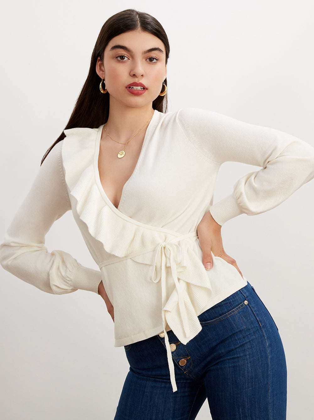 Julietta Ivory Wrap Jumper