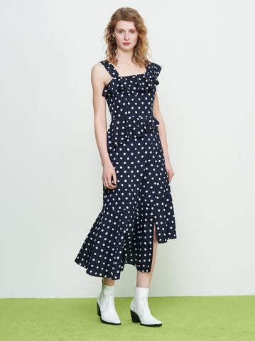 Ailen Navy One Shoulder Polka Dot Frill Dress by KITRI Studio