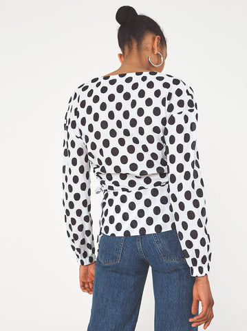 Vera White Polka Dot Wrap Blouse by KITRI Studio