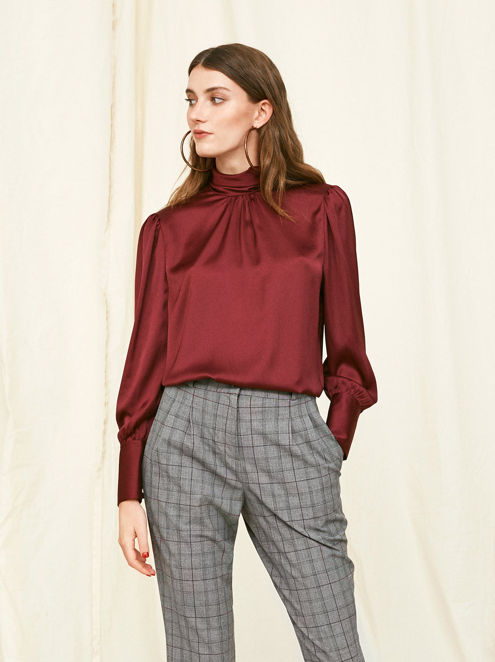 Agnes Burgundy Satin Blouse
