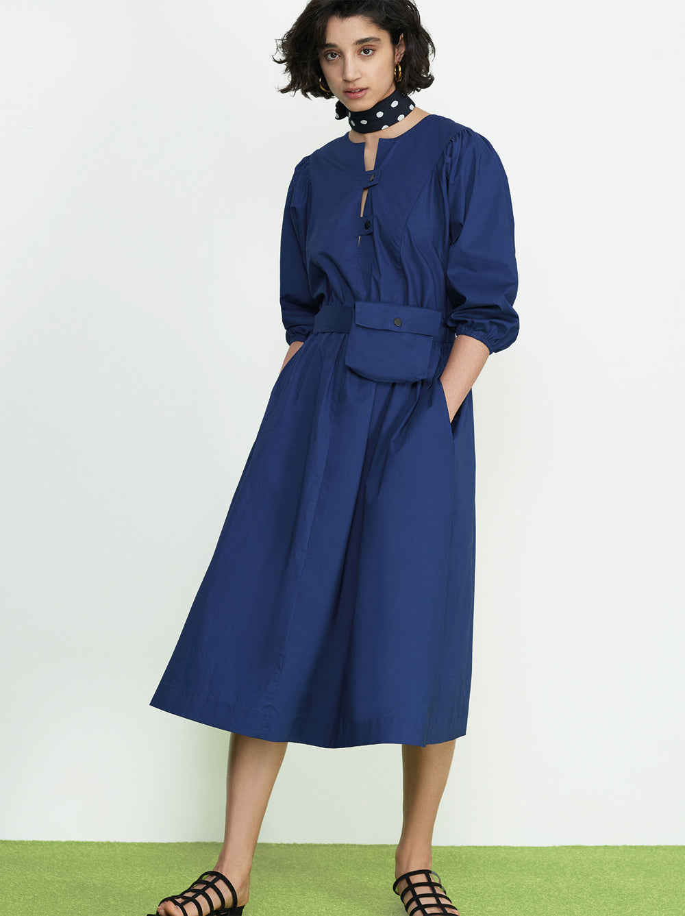 Alana Navy Belted Shirt Dress by KITRI Studio