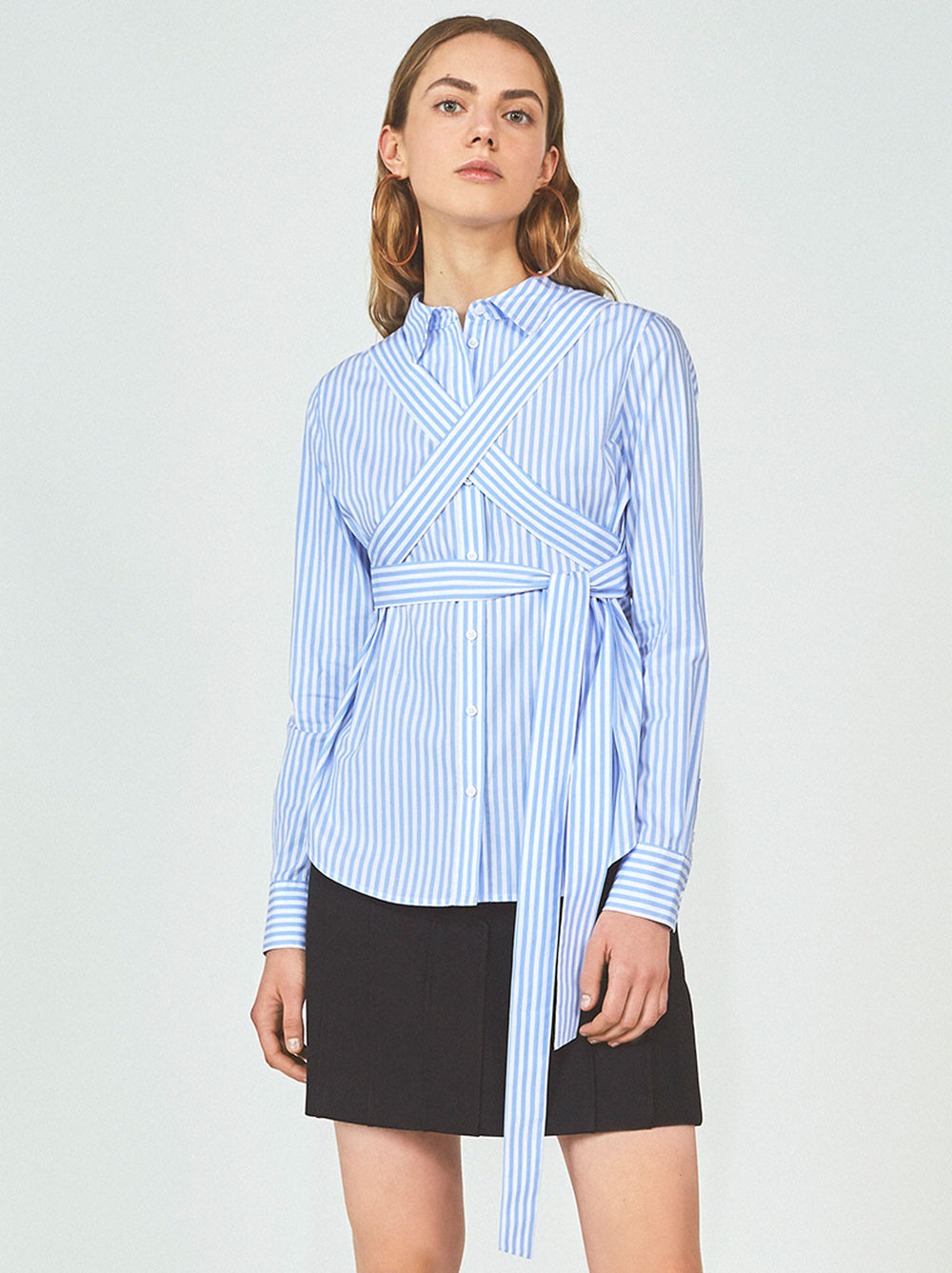 Antoinette Tie Waist Striped Cotton Shirt by KITRI Studio