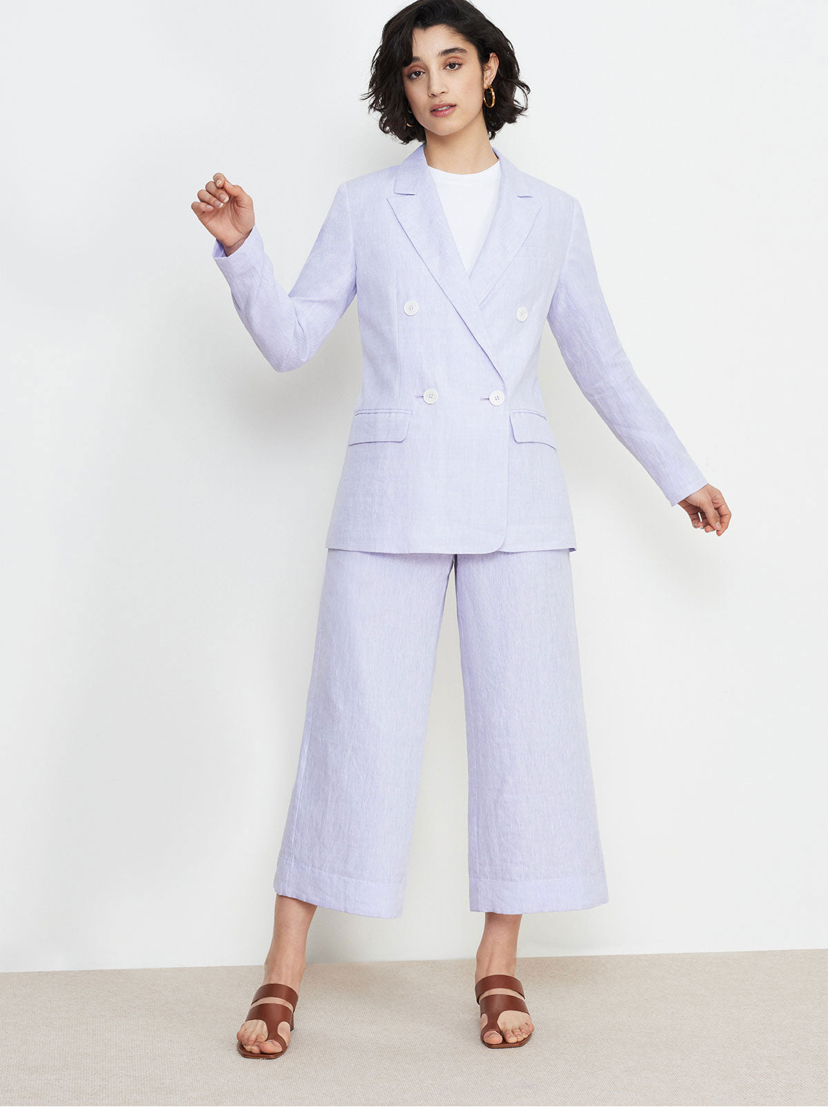 Dominique Lilac Linen Blazer by KITRI Studio