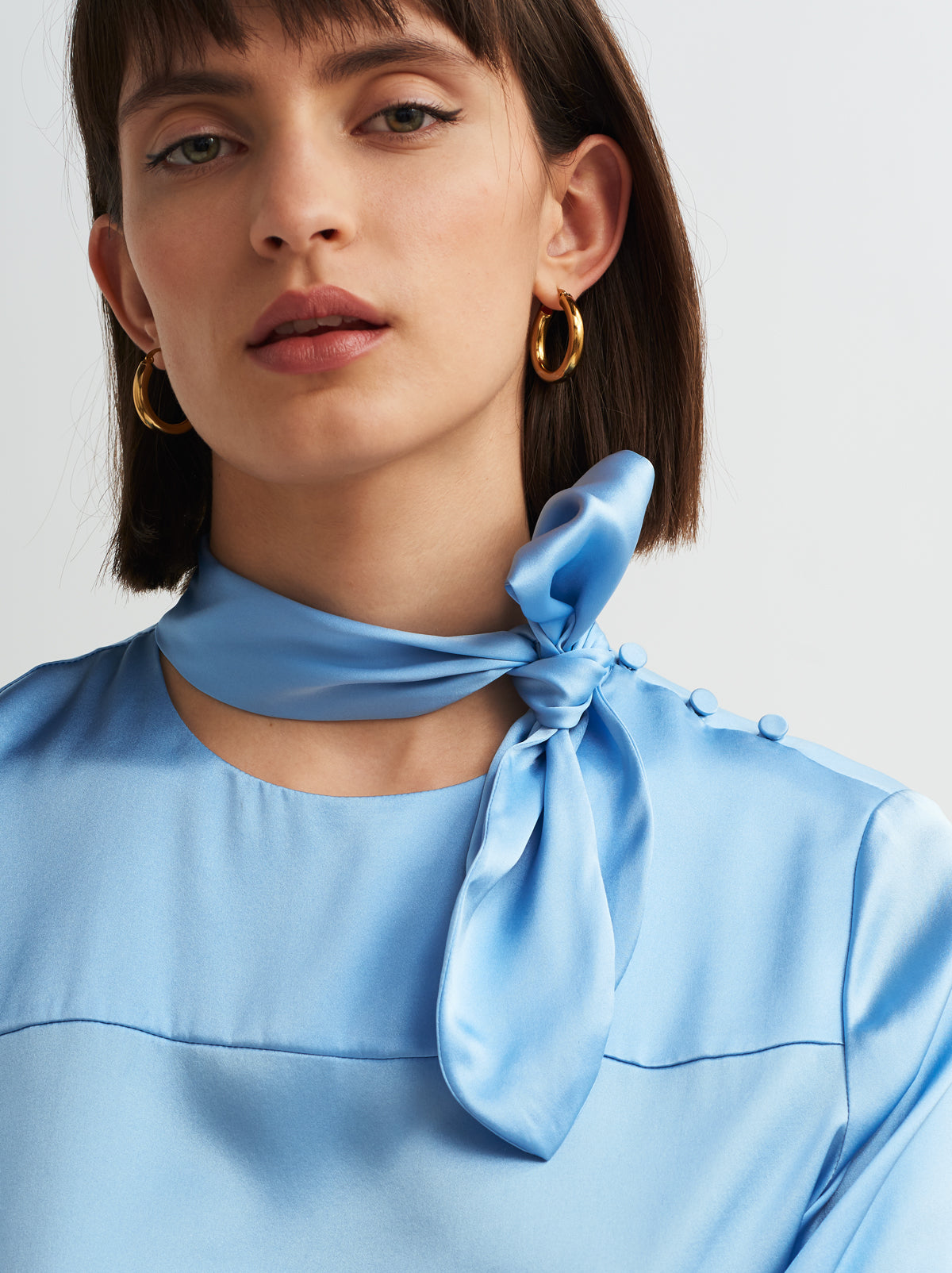 Dores Blue Silk Blouse by KITRI Studio