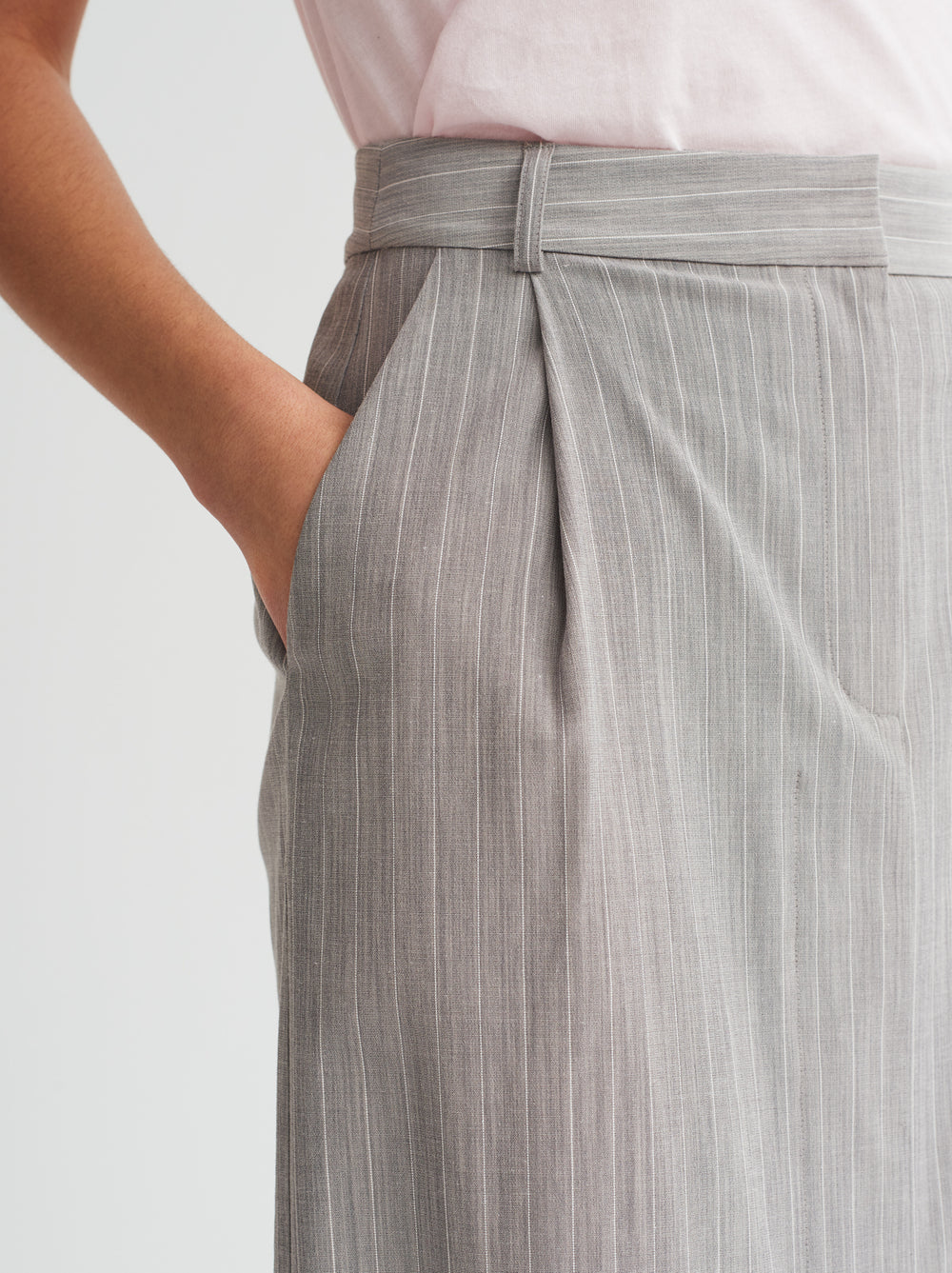 Ellen Grey Pinstripe Pencil Skirt by KITRI Studio