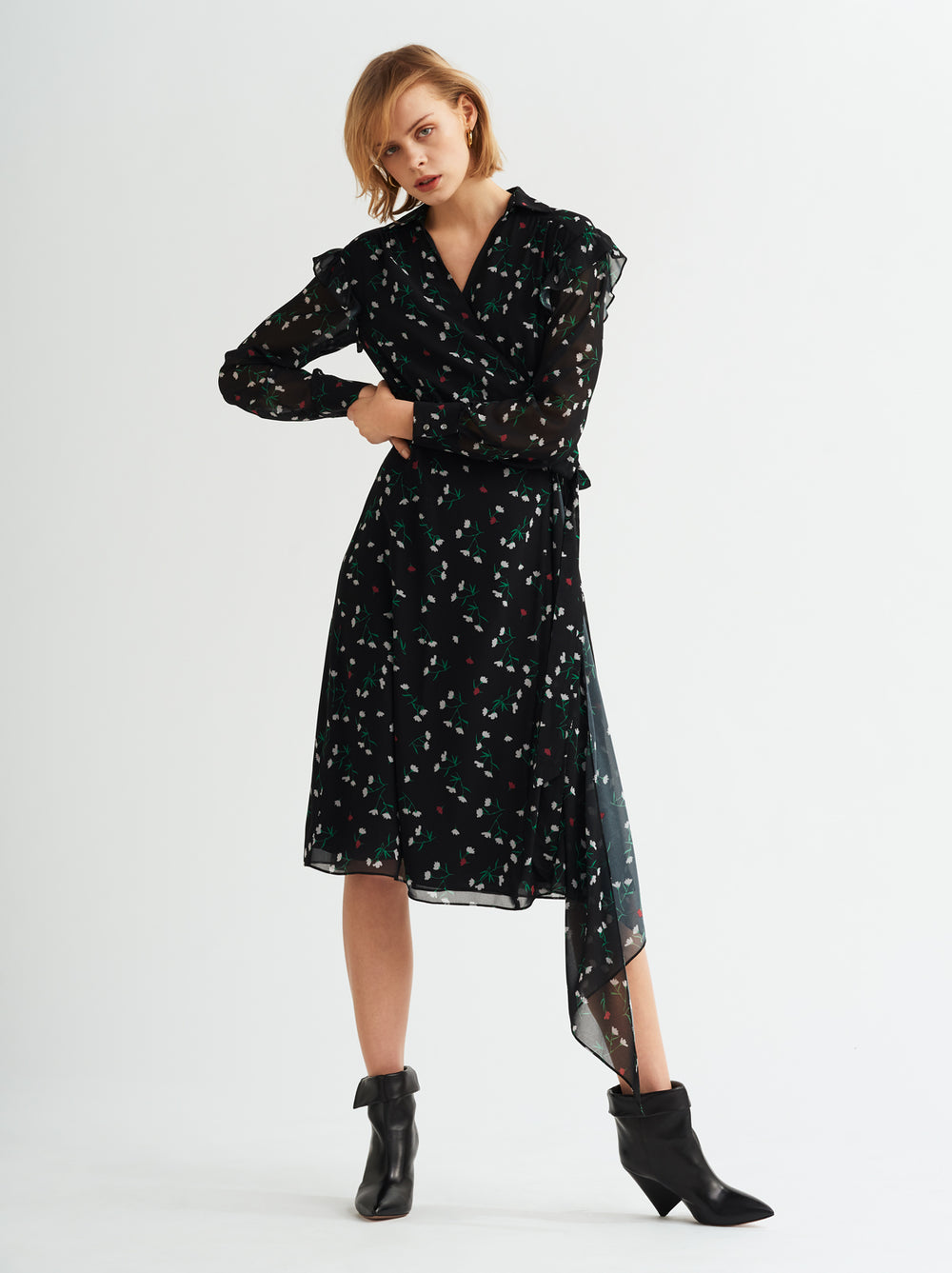 Georgia Black Floral Print Wrap Dress by KITRI Studio
