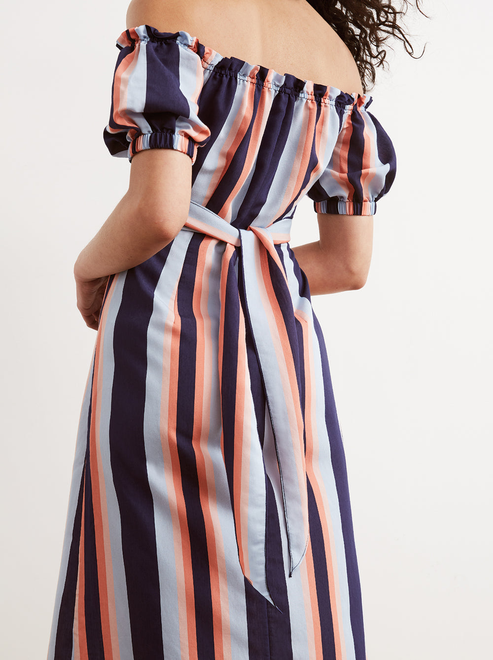 Gloria Striped Cotton Bardot Summer Dress by KITRI Studio