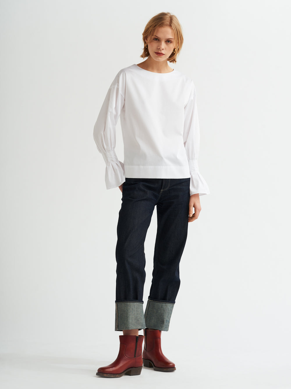 Heather White Cotton Pleated Cuff Shirt by KITRI Studio