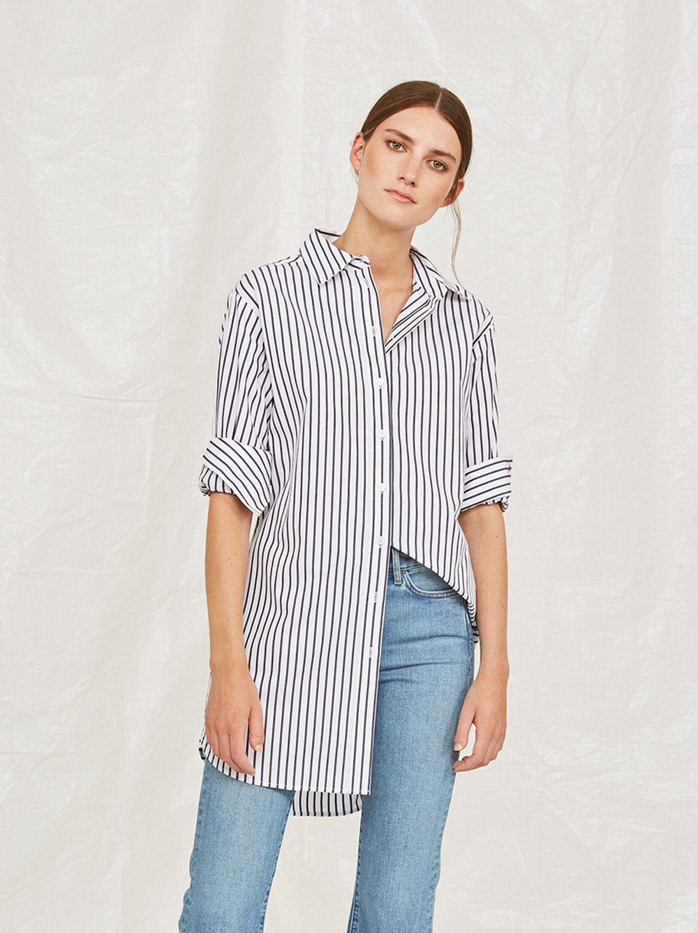 4bf1636a4ce1a Herrera Oversized Striped Classic Cotton Longline Shirt by KITRI Studio ...