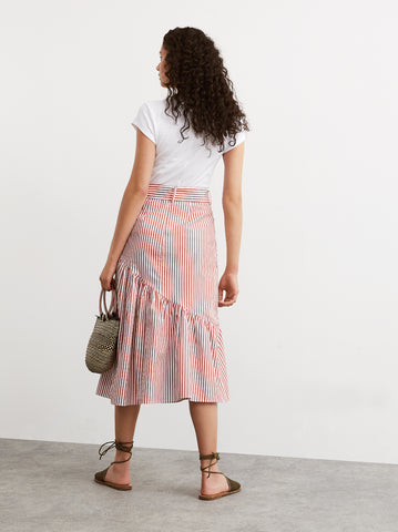 Isla Striped Cotton Midi Skirt by KITRI Studio
