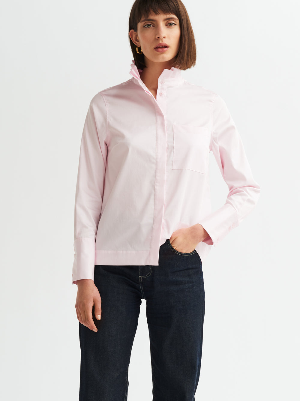 Ivy Pink Frill Neck Cotton Shirt by KITRI Studio