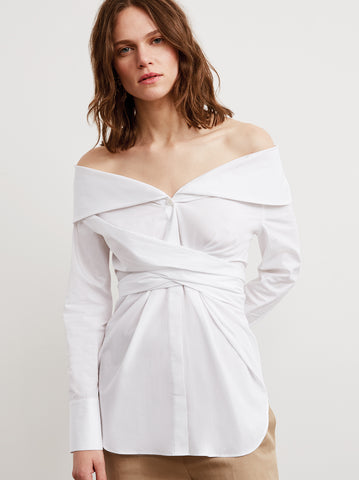 Kennedy White Cotton Long Sleeve Off Shoulder Shirt by KITRI Studio