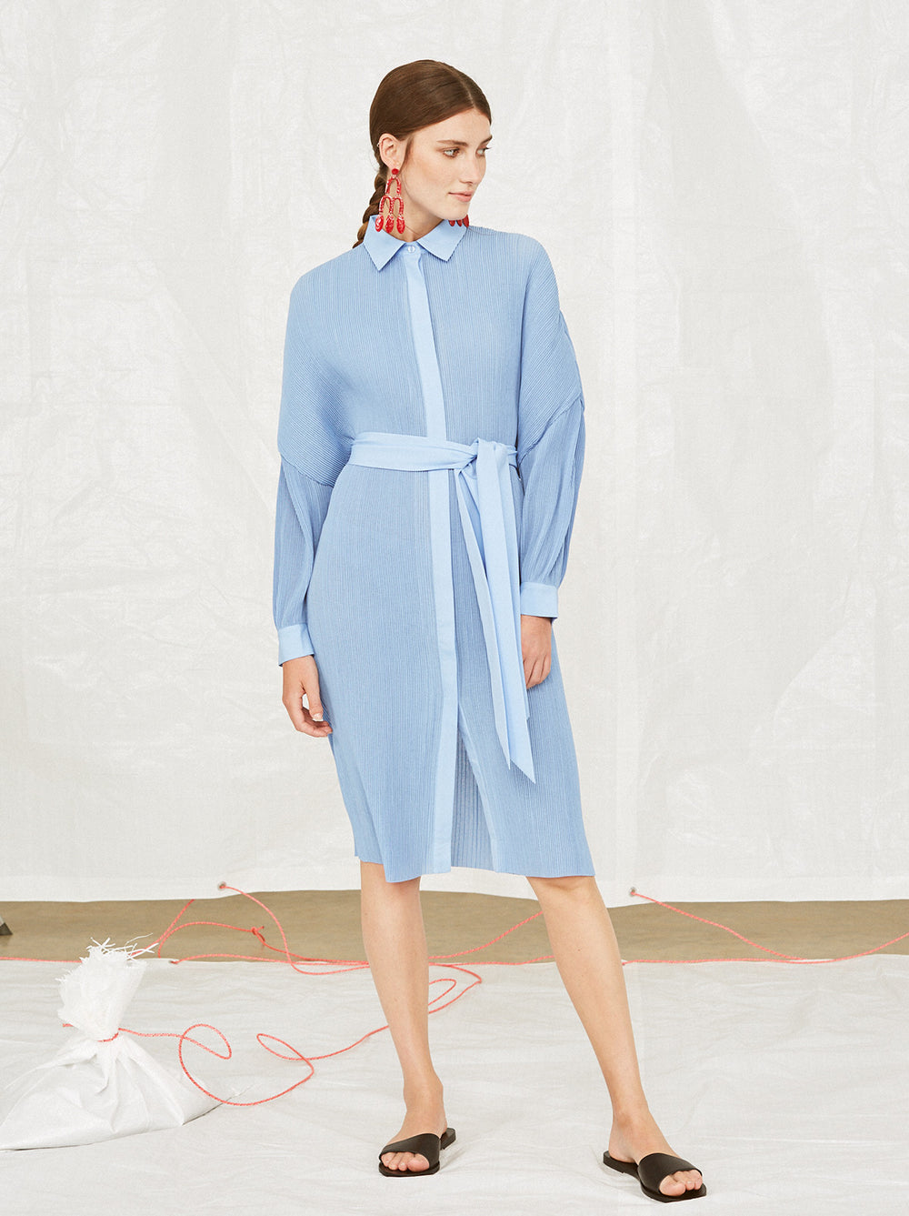 Lambert Plisse Blue Midi Shirt Dress by KITRI Studio