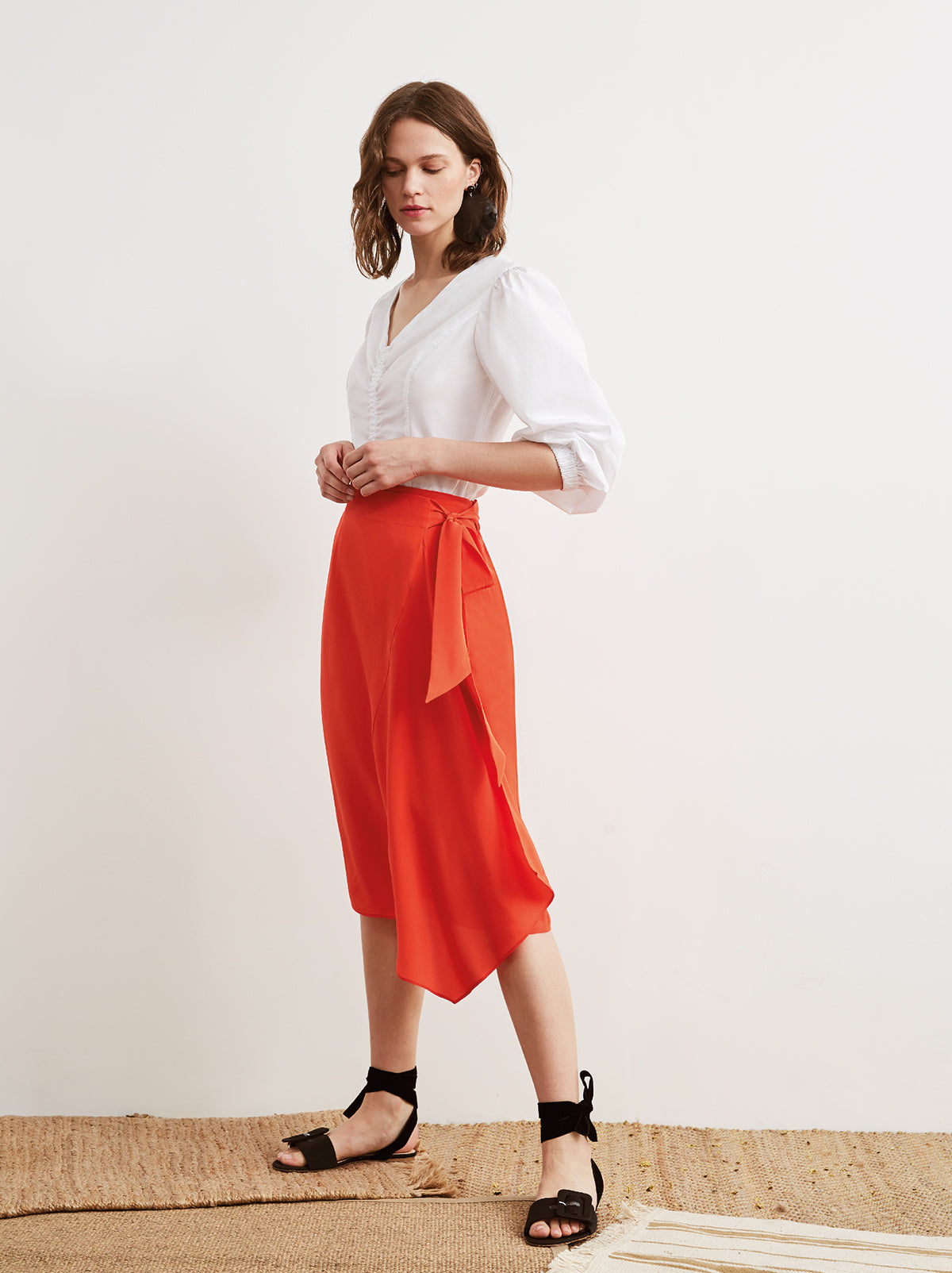 Leah Red Silk Sarong Wrap Skirt by KITRI Studio